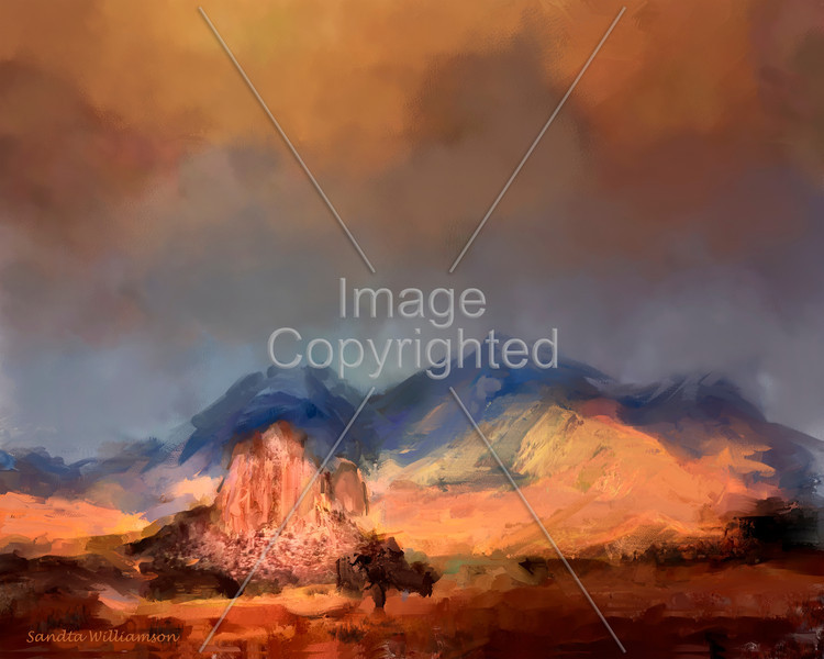 Storm over Needlerock, painted from the photograph on the site 16x20 300dpi-also with Peruvian Horses painted in it.  Look at photographs made into paintings.