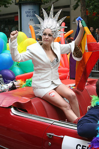Cindy Lauper was a Grand Marshall at the Pride Parade in San Francisco as she showed her support for Gay Rights.
