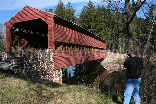 Me with Covered Bridge in Gettysburg, PA - 3/28/07