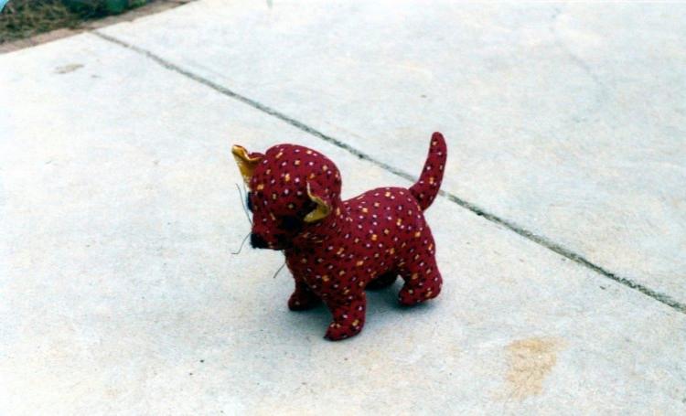 "Betsy's favorite stuffed animal...""Kitty"" (#2...""Kitty #1 is inside)"