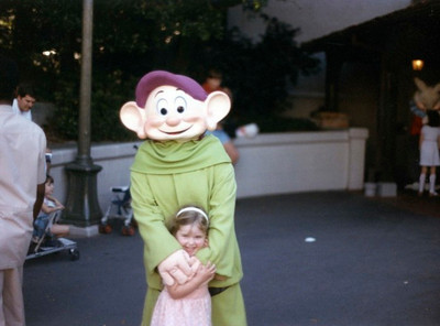 Molly with one of dwarfs at Disney World, April '86