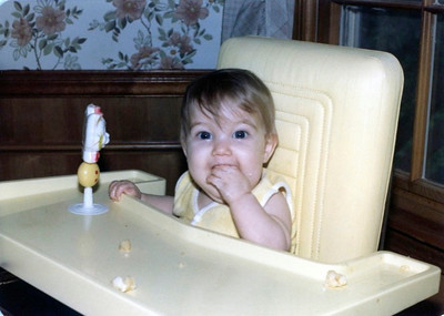 Molly in high chair, June '82