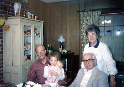 Uncle Ozzie, Bridget Shirley (his grand daugher), Pop, Grandmama in Reform, AL, March 4, 1992