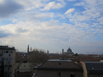 From roof of hotel: right of center, a standout view of the Florence Cathedral, the Duomo, where I am about to head.