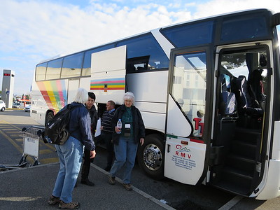A few of us here, taking bus to plane, got on a direct flight to Florence; others had to fly to Munich first, or Zurich, or even Bologna, then driving to Florence.