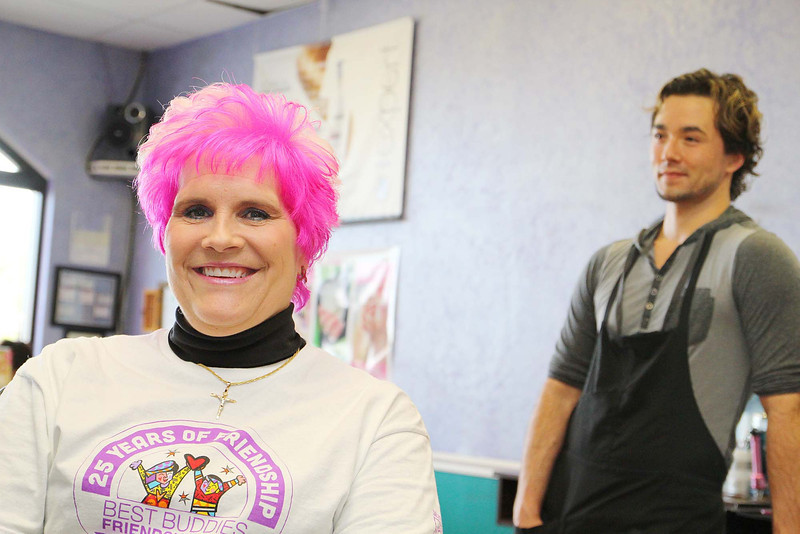 Kathy DiRusso since 2005 has been the Team Captain of The Cup Crusaders and each year she gets her colored pink by Stylist James Schneider at HairXotica, in the Johnny Appleseed Plaza on Route 12/Central Street. the pink is for breast cancer which her team raises money for.  SENTINEL & ENTERPRISE/JOHN LOVE