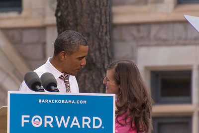 President Obama greeting Christy Howard.
