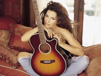 Singer Shania Twain with Acoustic Guitar ca. 2002