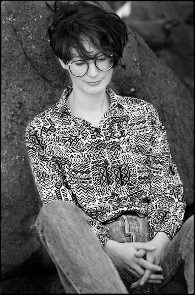 Caroline in St Kilda.  Zuiko 135mm f2.8. Ilford XP2.