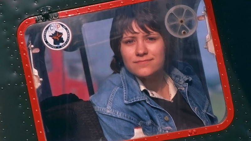 Deb looking gorgeous as normal. Duxford 80's.<br /> Sitting in the  Broussard.