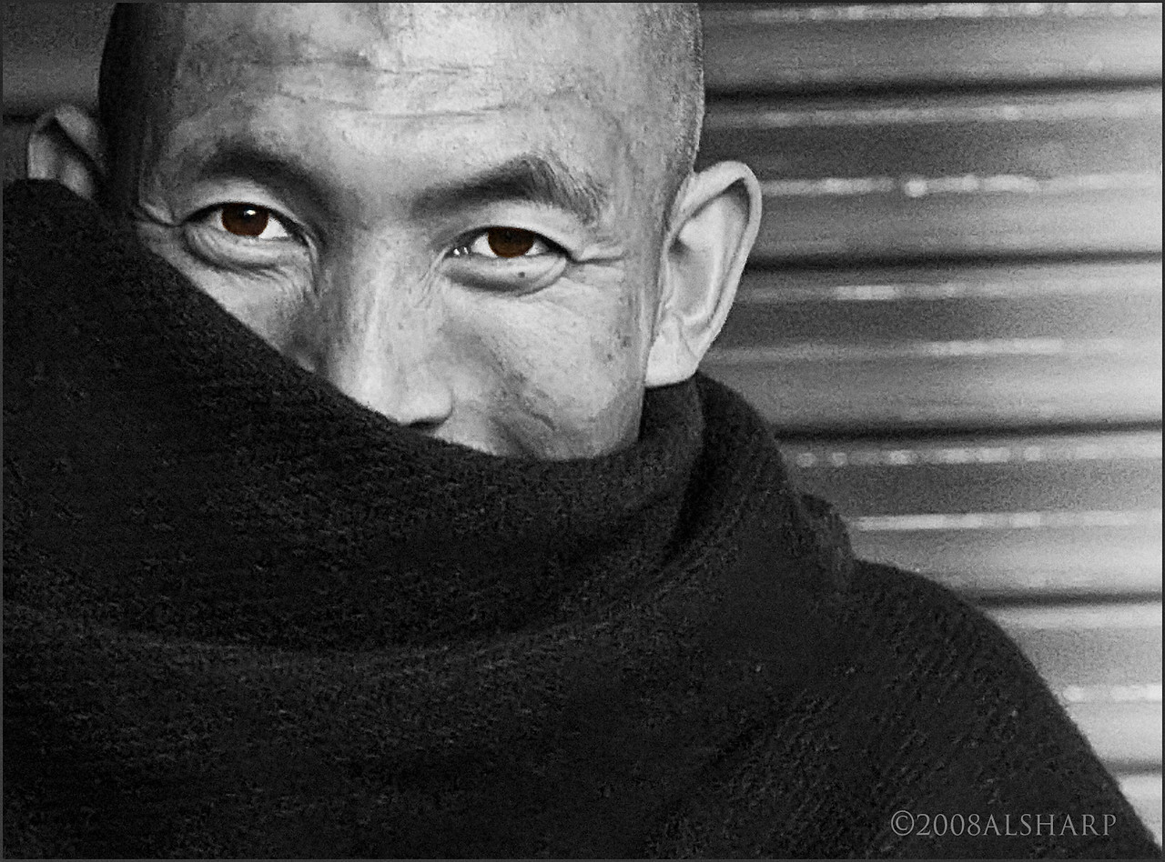 """B&W  from 16 bit RGB as separate layer .  Color """"wash"""" on eyes   McLeod Ganj, India"""