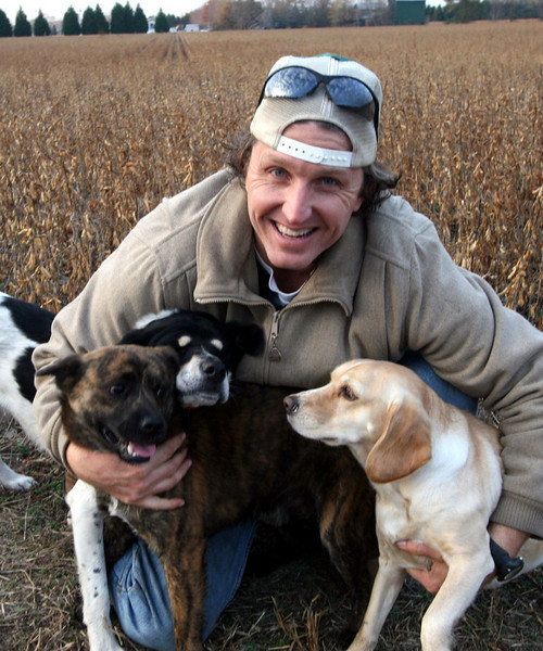 Quentin Warren with his three dogs.