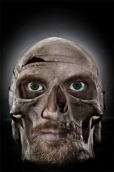 Creepy photo manip. of self portrait & still 'life' skull.