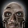 Creepy photo manip. of self portrait & still 'life' skull.