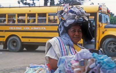 A sock seller at Rivas, Nicaragua