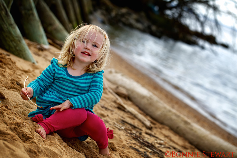 Anna Bussink playing in the sand - two and a half years old