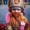 Young girl dressed up like Lord Hanuman - Shimla, India
