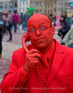 Talking on phone, Melbourne Comedy Festival, Federation Square, Melbourne