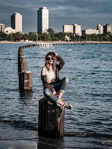 IG model shoot, North Avenue Beach, Chicago