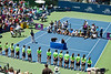 STANFORD UNIVERSITY, CA - JULY 31: Ceremony after Serena Williams, USA, wins in final game at the Bank of the West Classic vs. Marion Bartoli, FRA, on July 31, 2011 in Stanford, CA