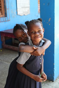 Two girls at a school in Falmouth, Jamaica - 2011