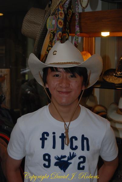 Sherman in cowboy hat, Winthrop WA