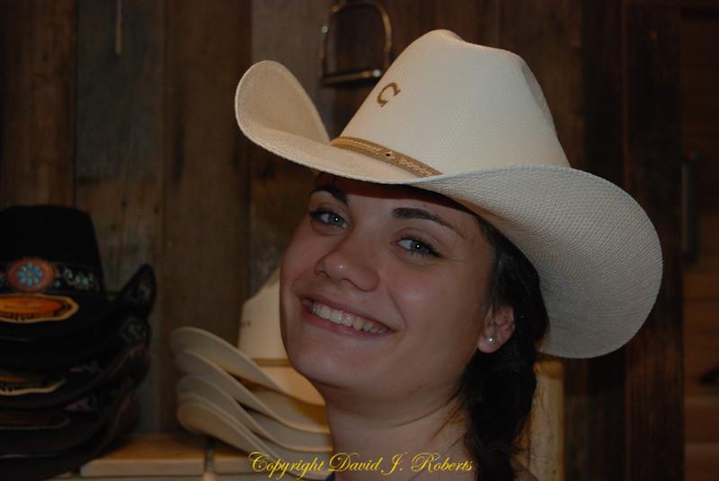Christa in cowboy hat, Winthrop, WA
