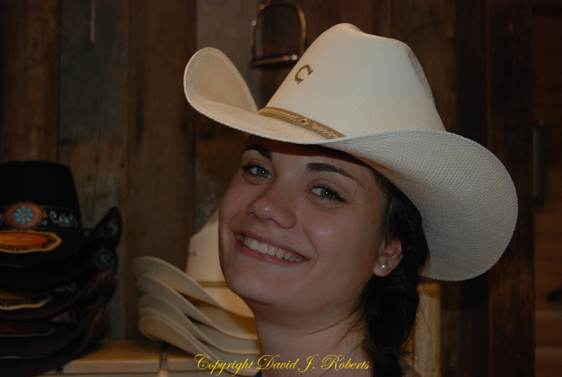 Christa in cowboy hat, Winthrop, WA