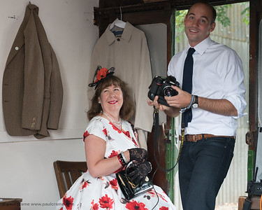 Inside the Goodwood Photobooth complete with photographer and subject - The Goodwood Revival 2018