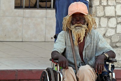 Man in a wheelchair in Falmouth, Jamaica - 2011