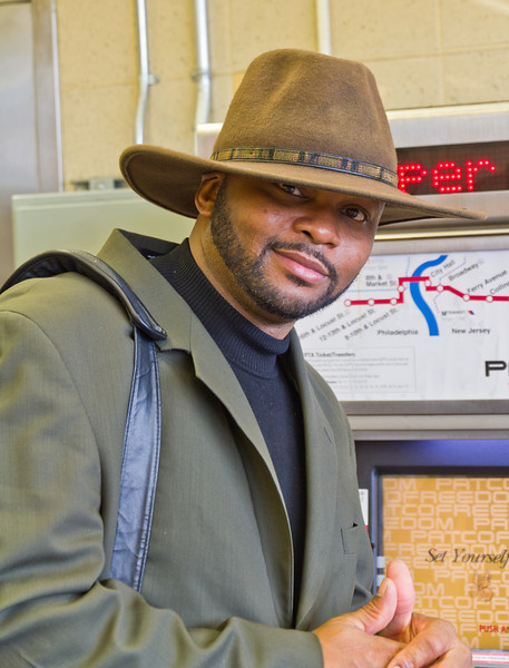 Lindenwold PATCO rail station. Great looking guy. October 2012