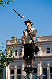Arizona Jones, Williamstown Festival.  16 feet in the air, juggling fire sticks