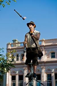 Arizona Jones, Williamstown Festival.  16 feet in the air, juggling fire sticks