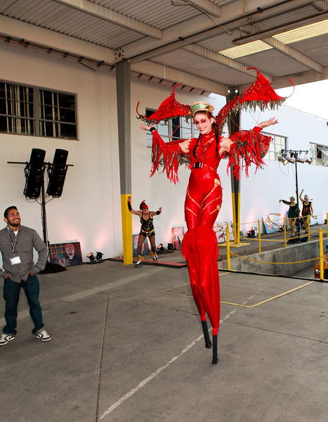 Anne Sconberg and Mark Henderson have put together an art and entertainment event fundraizer for the Arts Council Silicon Valley.  The event which is held in an industrial warehouse behind Smurfit Stone Recycling features artwotk, performers, music, food and beverages.
