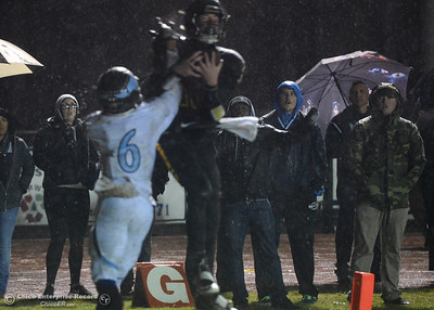 Fans on the sidelines are shocked as Paradise's Riley Potthast (10) comes down with a touchdown reception against Garrett Rayburn (16) as Paradise hosts Pleasant Valley in the Northern Section Division II final Saturday, Nov. 26, 2016, at Om Wraith Field in Paradise, California. (Dan Reidel -- Enterprise-Record)