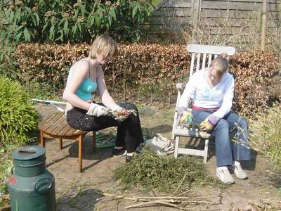 Anne-Marie came to babysit, but as Elise was still asleep, she helped out with the back yard too.