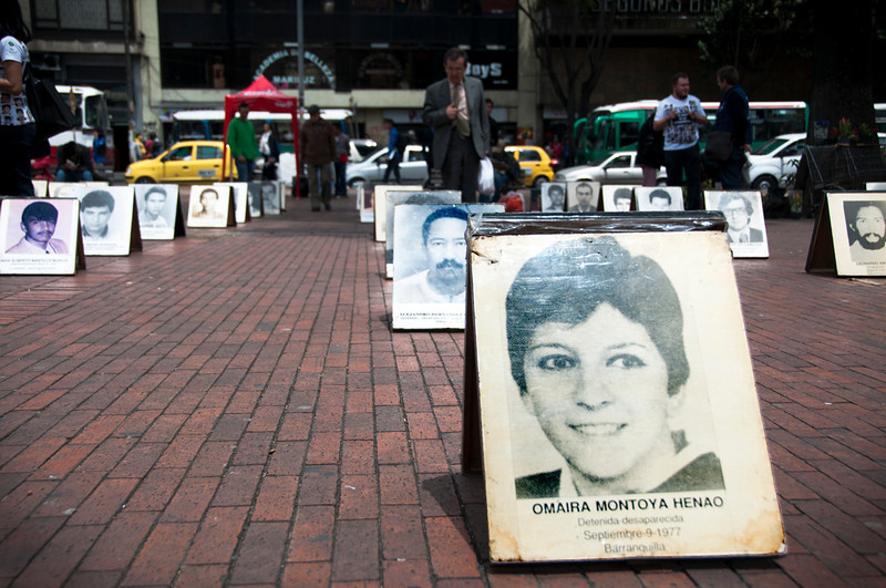 The first person registered as a victim of forced disappearance in Colombia was Omaira Montoya Henao. According to a report from the Colombia-Europe-United States Coordination, this bacteriologist and Leftist militant was detained by the secret policeof the era, known as F2.  This was in 1977.