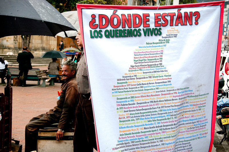 The National Registry of the Disappeared reports 50,891 persons whose whereabouts are unknown in Colombia, of which it's presumed some 16,907 are victims of forced disappearance.