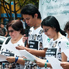 For more than an hour, members of ASFADDES read aloud the thousands of names of disappeared persons amid the passers-by in Bogota´s Plaza Lourdes.