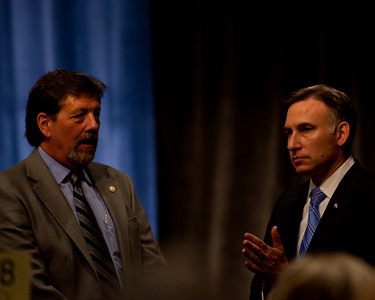 Dow Constantine, King County Executive, on the right