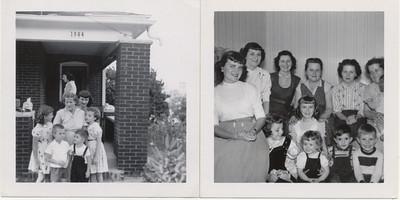 Grandma Carr & grandkids KC KS On left  maybe Ce? Grandma car,  Angie?, Bobby L, David J, Pat;  Ann in background.  Right Photo: Angie, Ann, Helen, Mary, Agens? Grandma Carr, Pat, Cell, Becky L?, David J (Ce's Bro), Bobby L