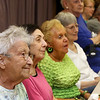Lunch and graduation at Buzzell Senior Center for Wilmington seniors who completed the Remembering When program. There were 33 participants in the six-month program of monthly meetings to learn about fire and fall prevention, and about 25 attended the lunch. From left, Irene Conlin, Joanne Martinos, Mary Kuchler, Ruth Russo, and Lorraine Casey, all of Wilmington. (SUN/Julia Malakie)
