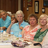 Lunch and graduation at Buzzell Senior Center for Wilmington seniors who completed the Remembering When program. There were 33 participants in the six-month program of monthly meetings to learn about fire and fall prevention, and about 25 attended the lunch. From left, Marion Nee, Helen Moulton, Barbara Doucette (hidden), Bill Cameron, Rosemary Russo, Eileen Banks, Joanne Fisher, Linde Kashian and Gail Dickson. (SUN/Julia Malakie)