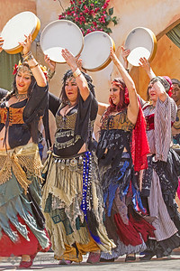 Drumming Dancers ~ Part of the belly dancing troupe performing at the 2013 Renaissance Pleasure Faire, held at Irwindale, California.