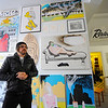 New Revival Gallery resident artist Tim Legros, 35, of Westminster talks about his mixed-media art in the gallery on Main St. in Fitchburg, Wednesday.<br /> SENTINEL & ENTERPRISE / BRETT CRAWFORD