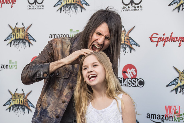 "Ron 'Bumblefoot"" Thal and Kyla Kennedy at the Revolver Golden Gods 2014"