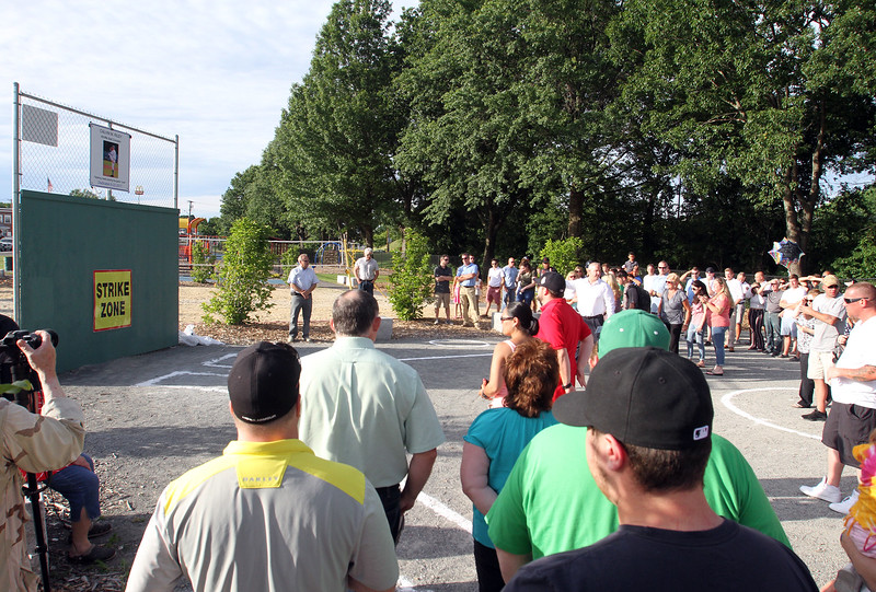 Whiffle ball field at Mulligan Park, off Plain Street in Lowell, is dedicated to former Lowell resident Calvin Riley, who was killed while playing Pokemon Go last summer in San Francisco. (SUN/Julia Malakie)