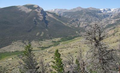 Up the canyon, Arrow Mtn on left.