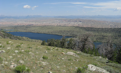 View down the canyon - Torrey Lake left of center; part of Ring Lake on right.
