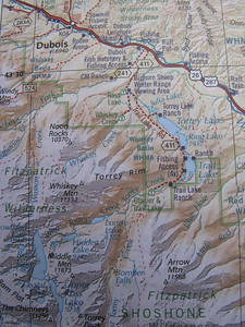 """And we can see Ring Lake Ranch SE of Dubois - where it shows """"Ranch"""" on the NE shore of Trail Lake."""